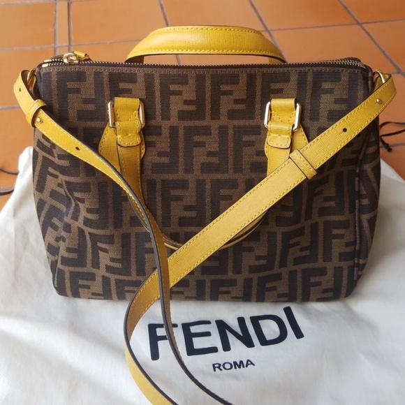 3711592d572a1 Fendi Handbags - Fendi - Zucca Small Canvas Boston Bag
